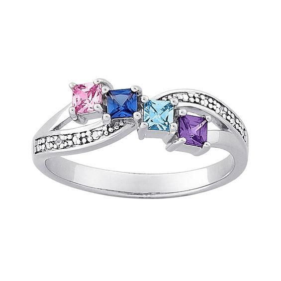 Zales Mothers Simulated Birthstone and Diamond Accent Ring in Sterling Silver and 14K Gold (4 Stones) qE7Qh7t