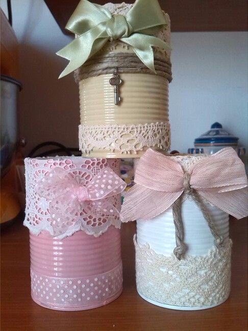 Upcycled Tin Cans Shabby Chic Barattoli Decorati