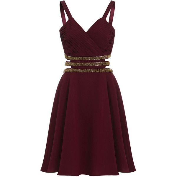 2673e9c1ea8 Sheen Clothing Sheen Embellished Cut Out Skater Dress in Burgundy ( 77) ❤  liked on
