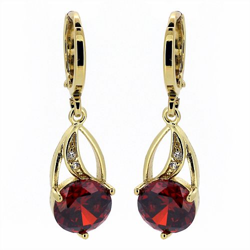 Vintage Style 14ct Gold Plated Ruby Drop Earrings Ebay Uk
