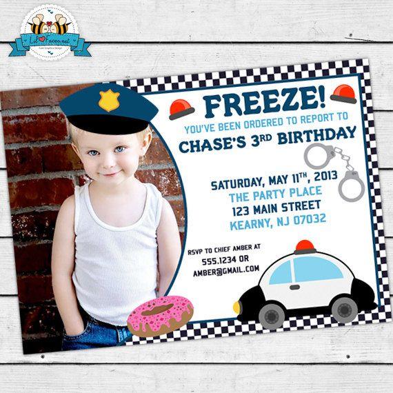 Police Officer Birthday Party Photo Invitations Birthdays