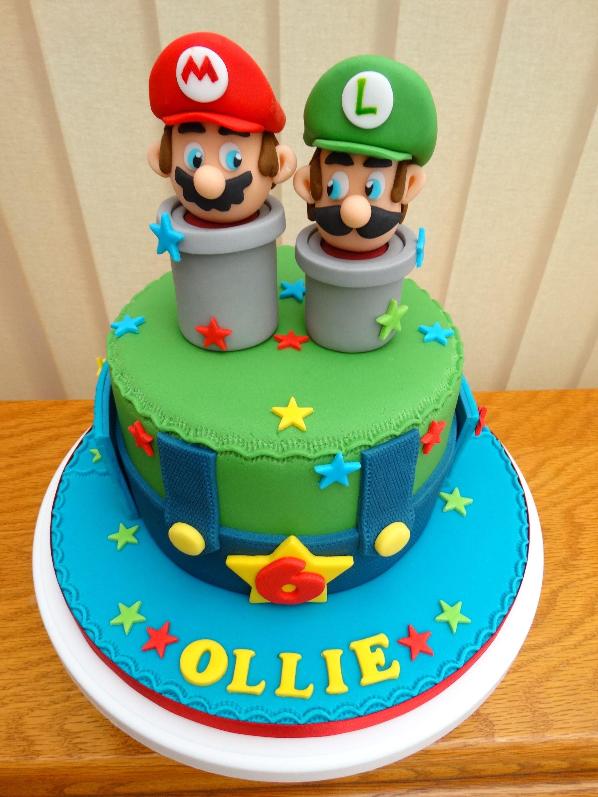 Astounding Super Mario Brothers Cake Xmcx Mario Luigi With Images Funny Birthday Cards Online Unhofree Goldxyz