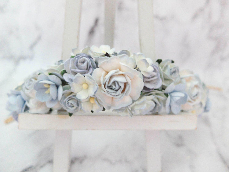 Light dusty blue flower crown wedding hair accessories head light dusty blue flower crown wedding hair accessories head wreath headpiece garland woodland izmirmasajfo