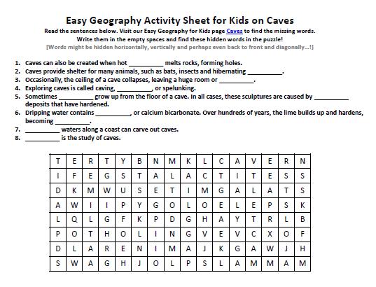 Download our FREE Caves Worksheet for Kids! | Merimac Caverns Study ...