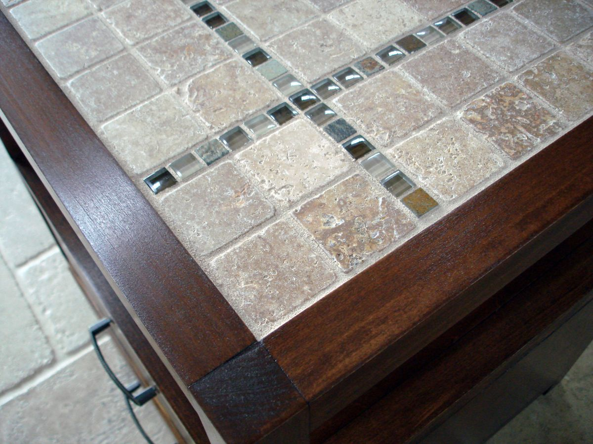 Do It Yourself Home Decorating Ideas: Rhyan End Table (or Nightstand) Modified With A Tile Top