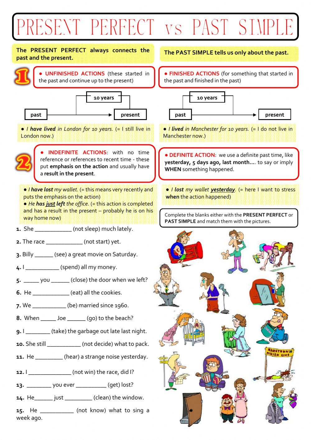 past simple and present perfect interactive and