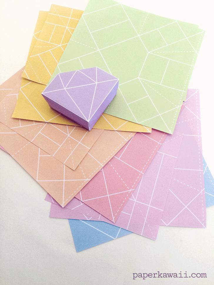 Free Printable Origami Crystal Box Tutorial Paper Kawaii