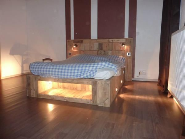 Diy pallet bed with lights diy pallet bed pallets and for Pallet bed frame with side tables
