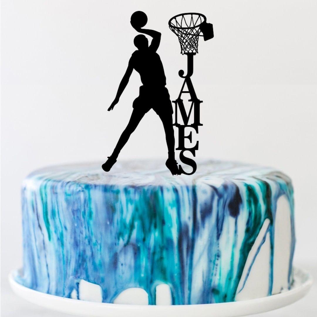 Caketopper on instagram basketball theme name acrylic