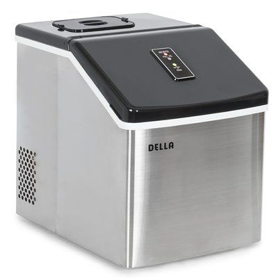 Della 28 Lb Daily Production Portable Clear Ice Maker Stainless
