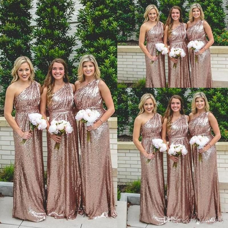 2017 sequins long bridesmaid dresses rose gold one shoulder bling 2017 sequins long bridesmaid dresses rose gold one shoulder bling ruched backless garden cheap wedding party gowns summer boho maid of honor chiffon dresses junglespirit Image collections