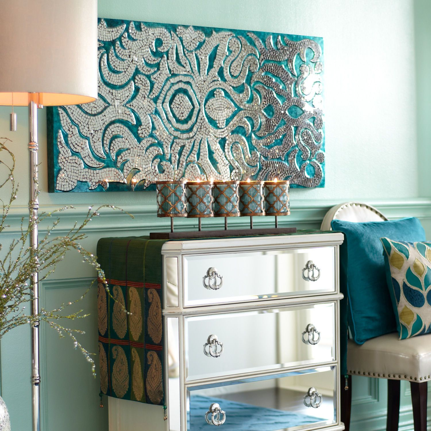 Mirrored Damask Panels   Teal | Pier 1 Imports