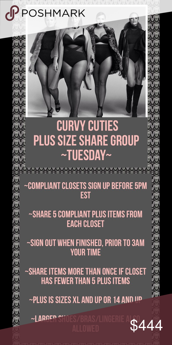9/20 PLUS SIZE SHARE GROUP: Curvy Cuties ~Sign up by tagging your closet before 5pm EST  ~Share 5 COMPLIANT PLUS items from each closet   ~SIGN OUT when finished, prior to 3am your time  ~Share items more than once if closet has fewer than 5 plus items  ~Plus is sizes XL and up or 14 and up  ~Larger shoes/bras/lingerie also allowed ASOS Curve Dresses