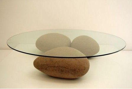 Stone Glass Teapoy Modern Table Design Coffee Table Glass Top Coffee Table