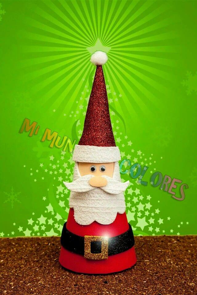 Papa noel cono, echo en goma eva o foamy navidad fomi Pinterest - christmas lawn decorations sale