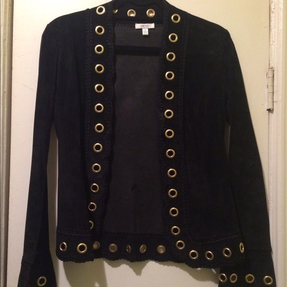 Cache Jacket Black leather/suede jacket with gold colored rings. Great condition! Very stylish with jeans or whatever your preference! Cache Jackets & Coats Blazers