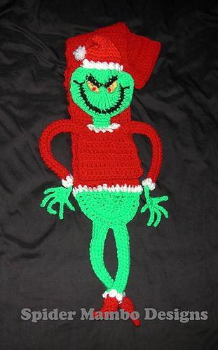 Great Big Greenie Meany Scarf or Lovie pattern by Spider Mambo #grinchscarfcrochetpatternfree