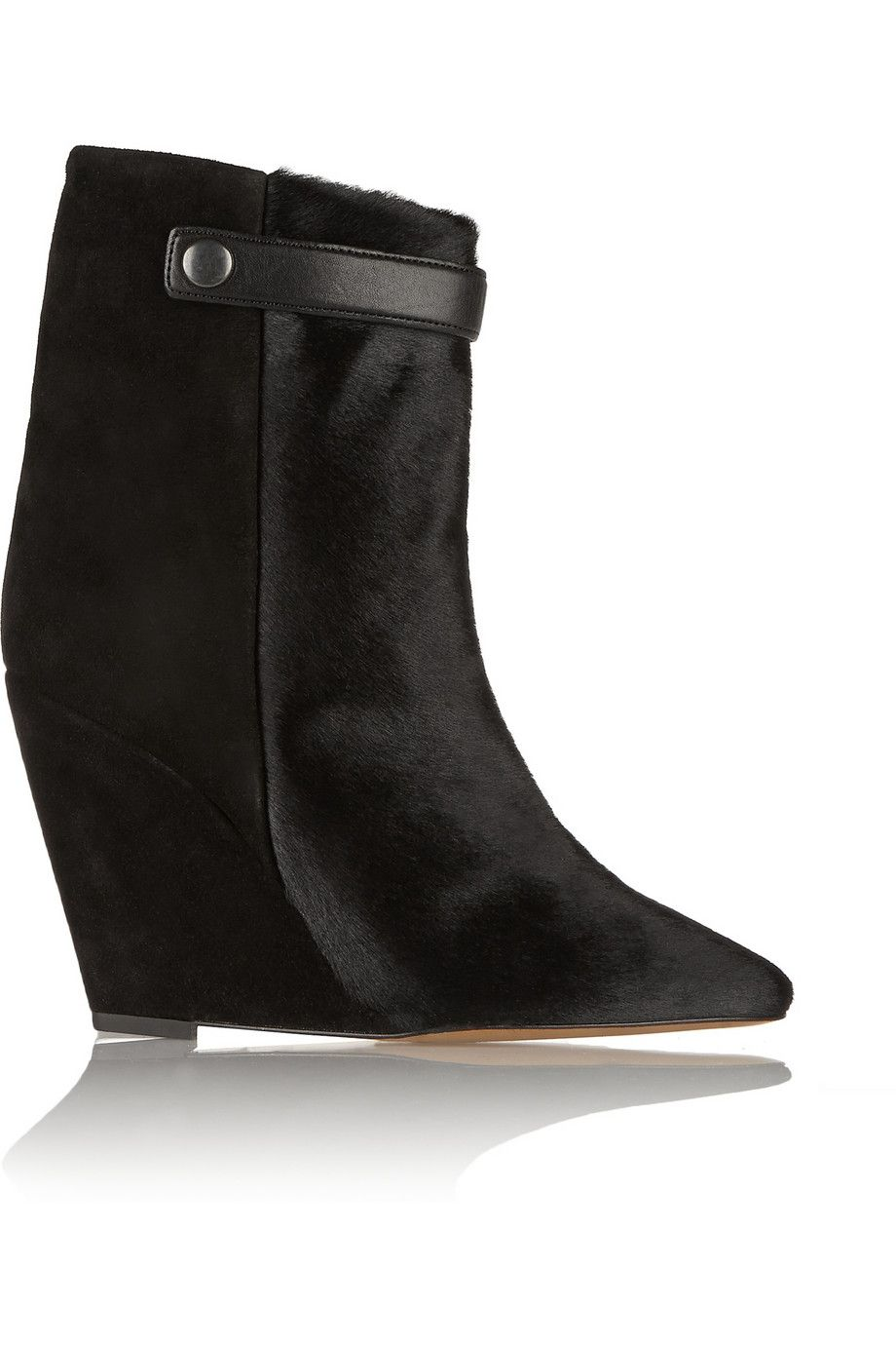 Isabel Marant Ponyhair Suede Wedges sale clearance store tzvvBw