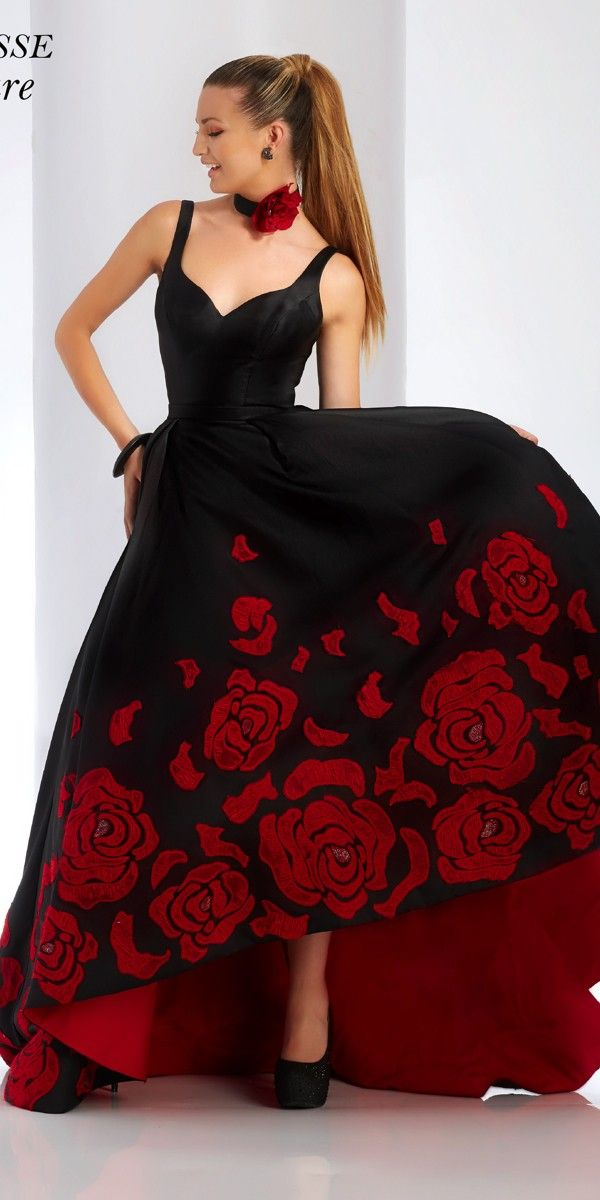 Clarisse Floor Length Black and Red Ball Gown | Red ball gowns, Ball ...