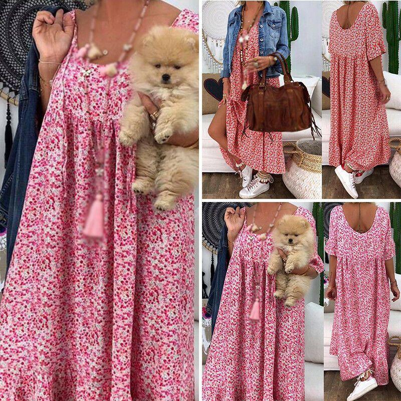Retro Damen Sommer Böhmisch ABEND PaRTY STRaND Boho Lang Maxi Kleid Sommerkleid