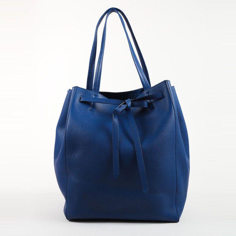 d56a67b2ad Celine Blue Grained Leather Top Handle Medium