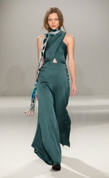 Temperley London Winter '15: Madena Crossfront Jumpsuit, Embroidered Flutura Dinner Scarf, Velvet Slipper
