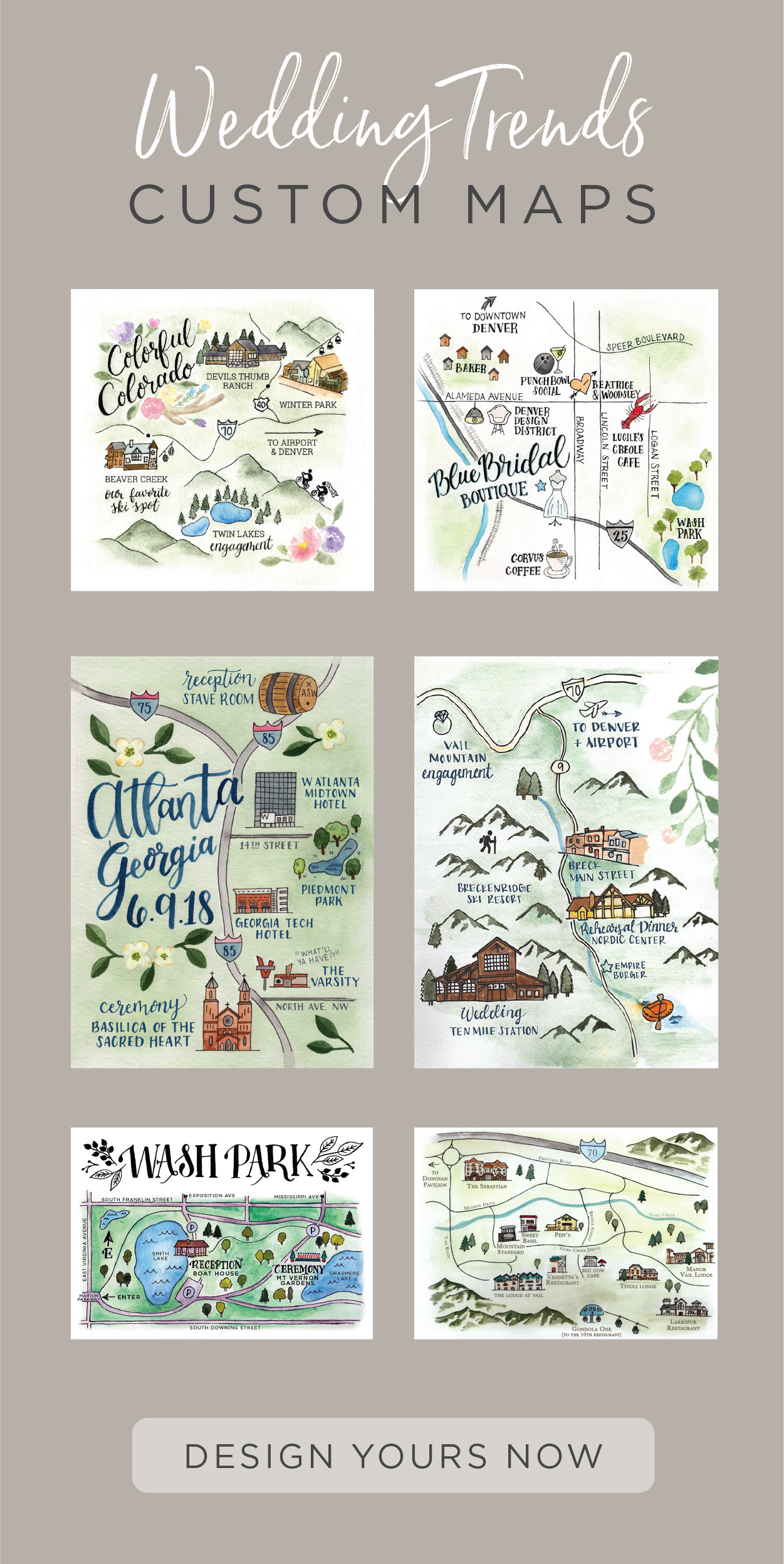 Add A Hand Painted Area Map To Your Wedding Invitations Or