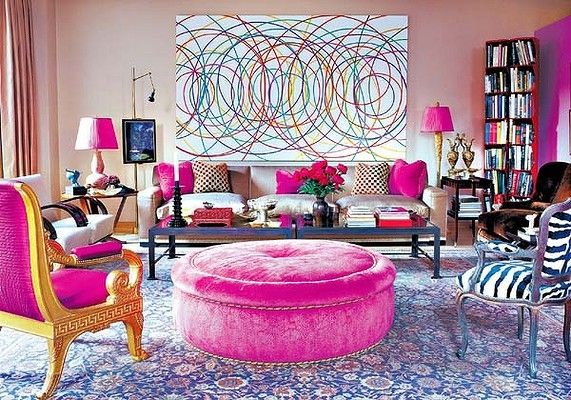 Eclectic Glam :: Hot Pink & Gold Chair! Hot Pink, Round Ottoman!! | Yellow Home Decor, Pink Living Room, Eclectic Living Room