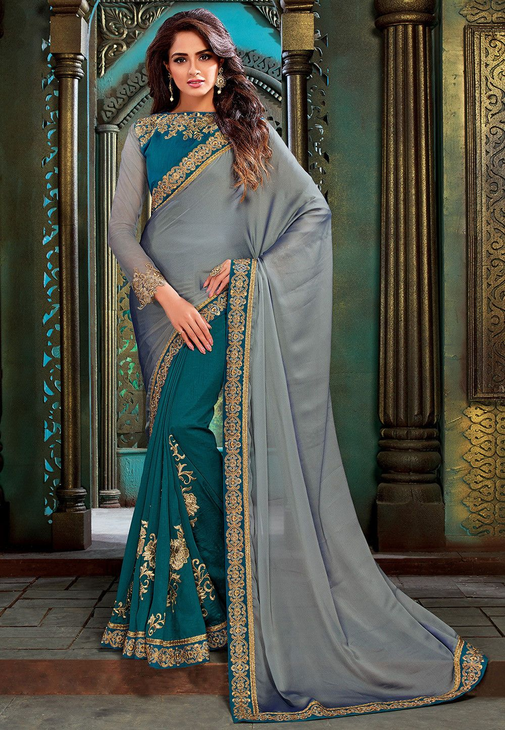 e4120f6bcc Buy online Half N Half Georgette Saree in Grey and Teal Blue now, Item  code: SYC7167, Color: Blue, Grey, Occasion: Wedding, Festive, Fabric:  Georgette, ...