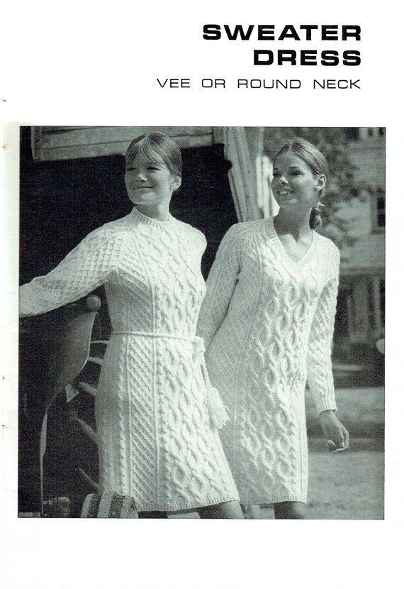 PDF Vintage 1960s Womens Ladies Dress Knitting Pattern like crochet ...