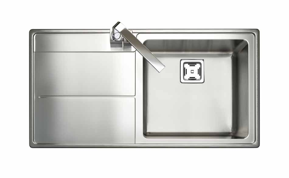 ... Stainless Steel Sink : The Arlington 1 Bowl, Stainless Steel Sink Is  Sleek And Modern, For A Bold Look In A Contemporary Solid Wood Kitchen.
