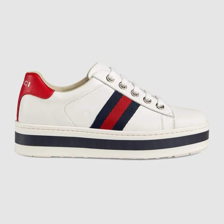 58f69fe9126 Gucci Children s leather platform sneaker