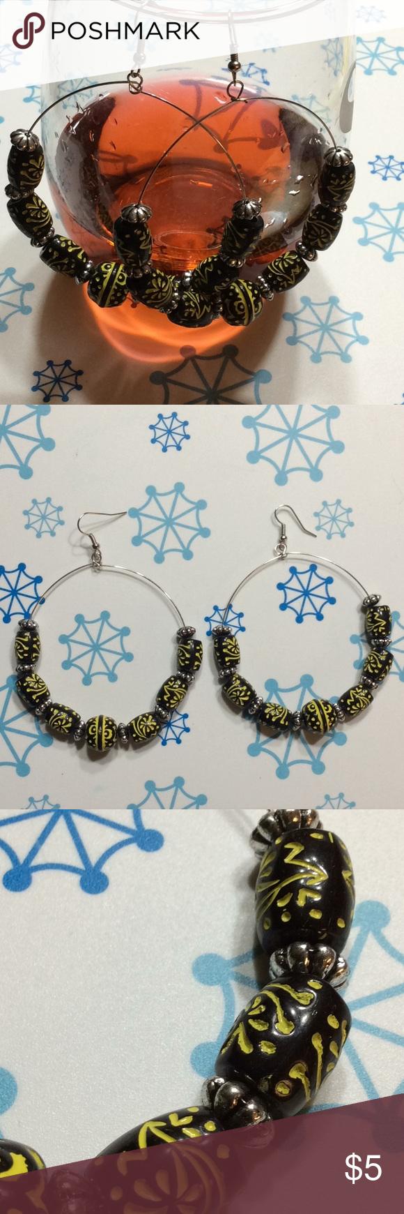 Beaded hoop dangle earrings Beaded hoops, Dangle earrings