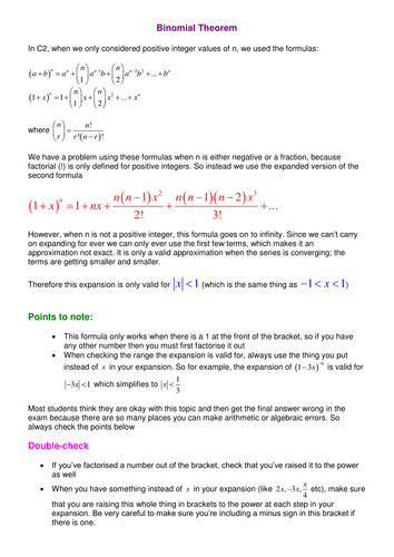 Binomial Theorem (notes and examples).doc | probability | Pinterest