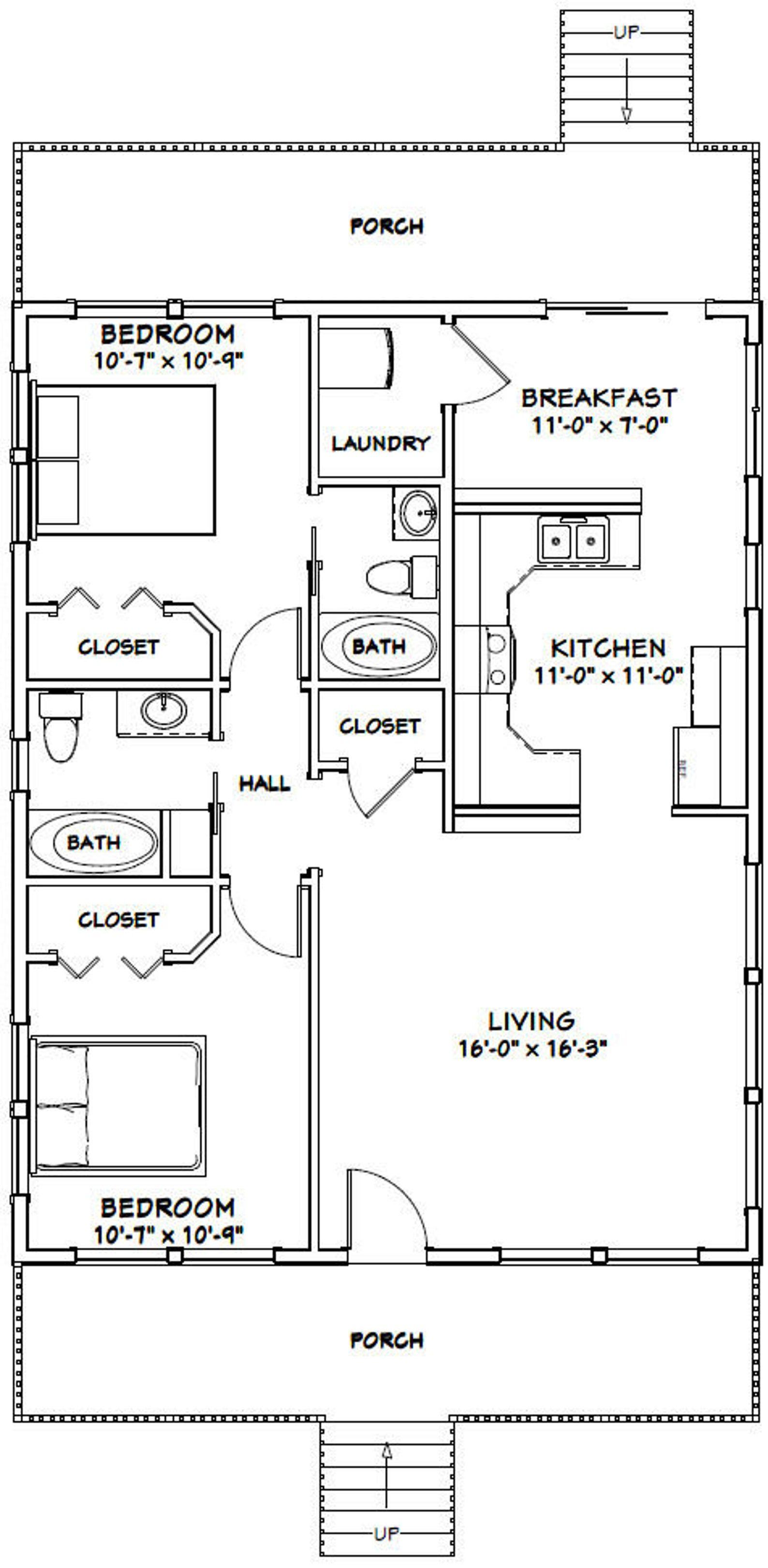 28x36 House 2 Bedroom 2 Bath 1008 Sq Ft Pdf Floor Etsy In 2021 Small House Floor Plans House Plans Ranch House Plans