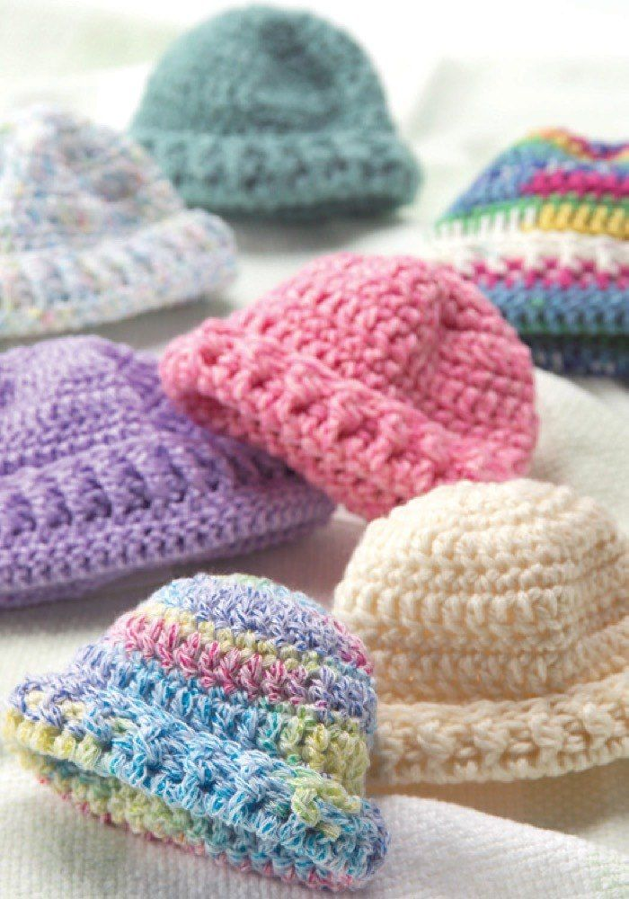 Knit & Crochet Preemie Hats in Red Heart Soft Multis - WR1756 ...