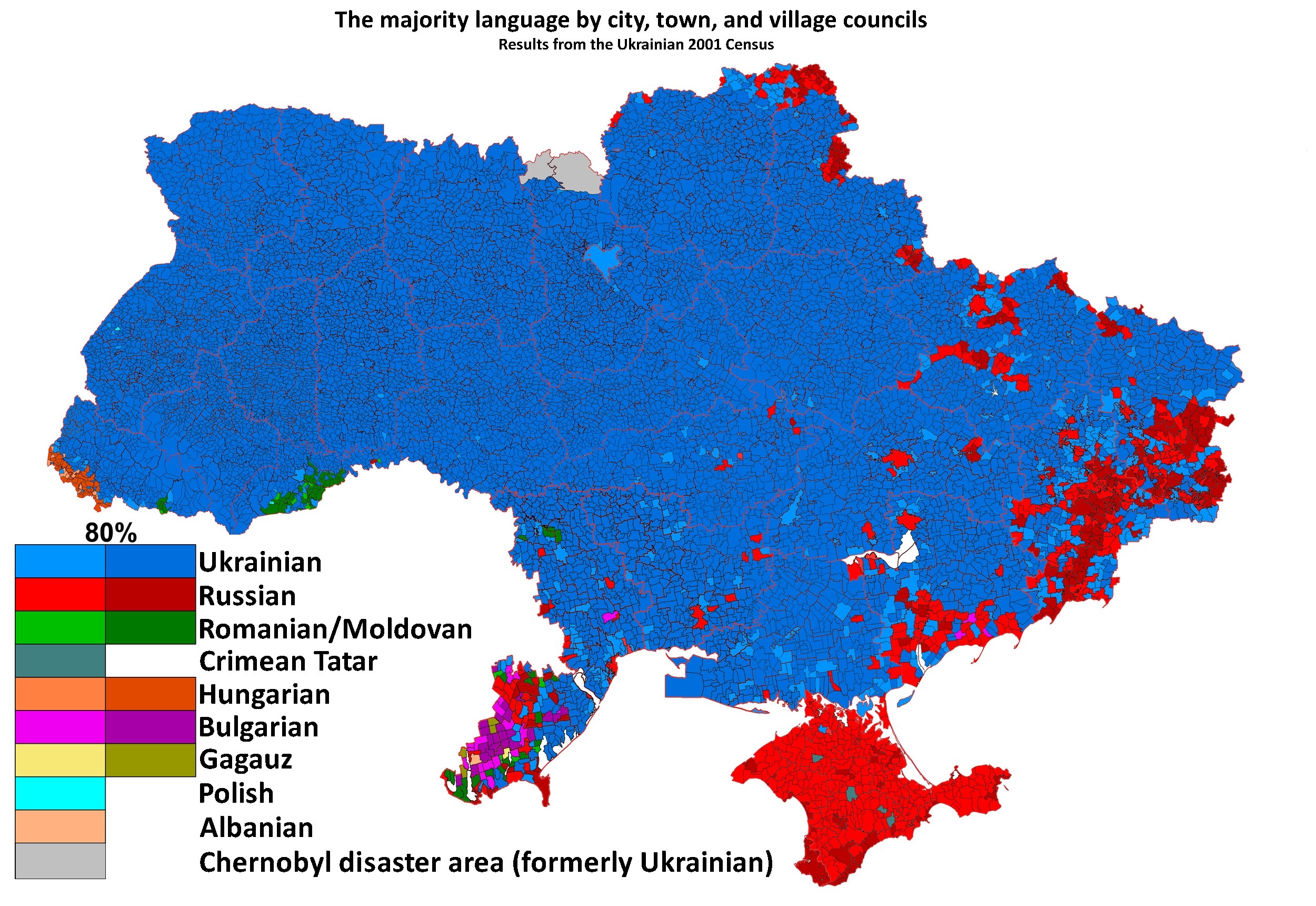 This Map Of The Ukraine Shows The Spread Of Languages In It You - Us map by region census