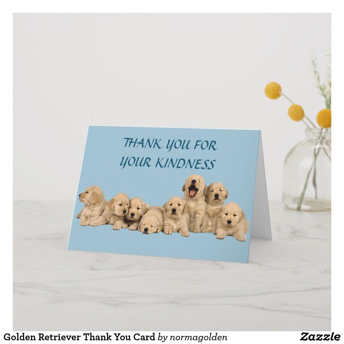 Golden Retriever Thank You Card Zazzle Com Custom Thank You