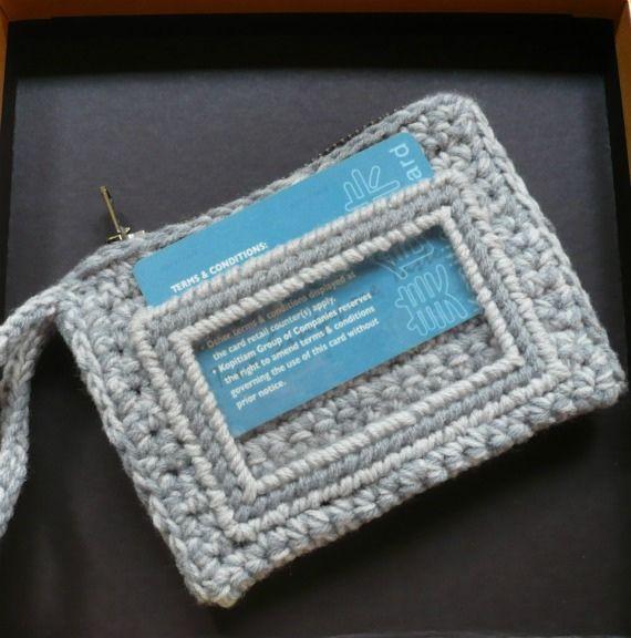 Crocheted Id Card Purse Crochet Wallet Crochet Case Card Purse