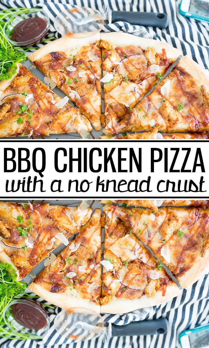 Homemade BBQ Chicken Pizza No Knead  Cooking With Karli BBQ Chicken Pizza Recipe is a delicious pizza slathered with barbecue sauce chicken onions and cheese all on an ea...