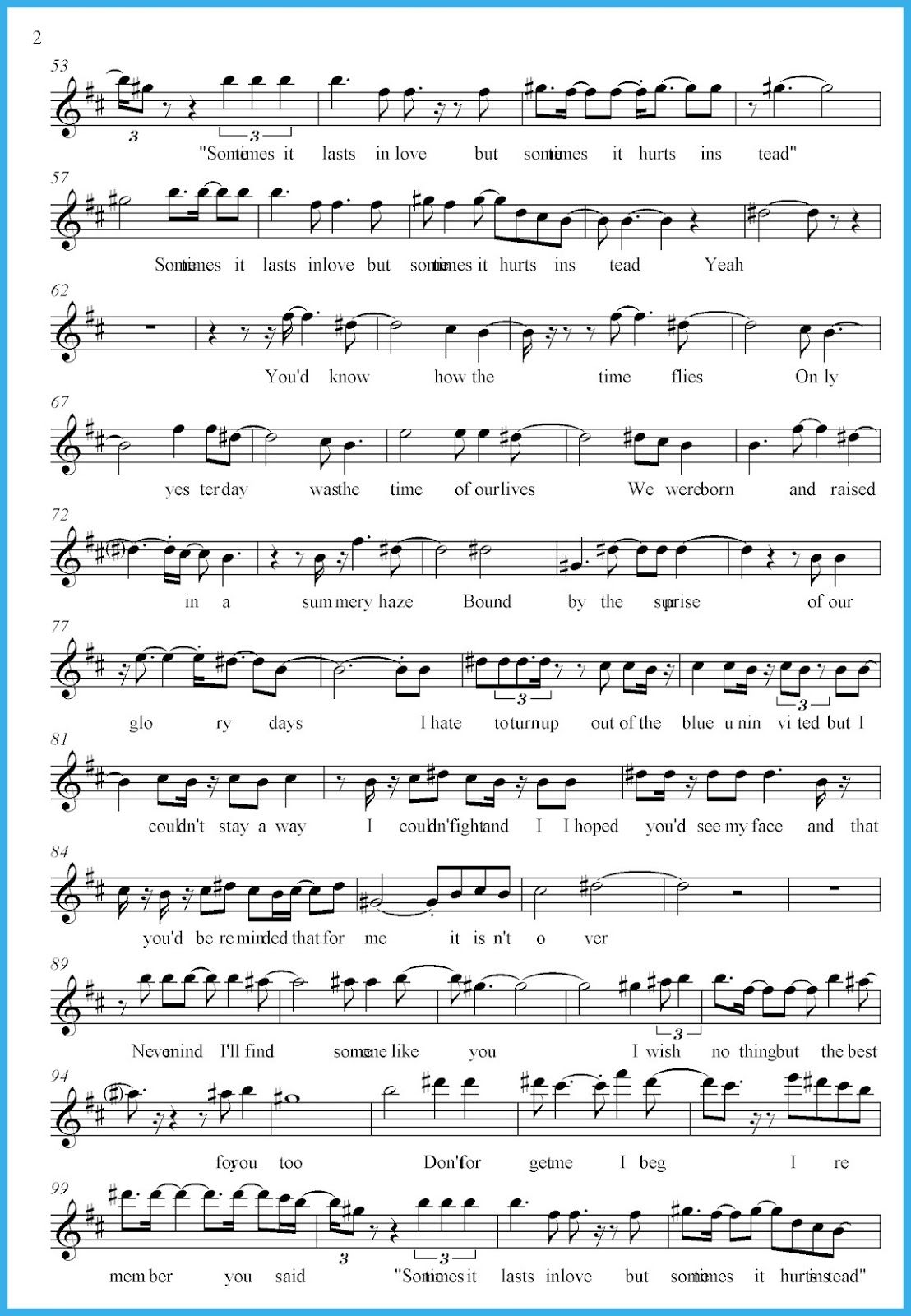 Someone like you sheet music kiddo shelter music chords free resources of someone like you sheet music that you can print for free use this sheet to learn and play someone like you music by adele baditri Image collections