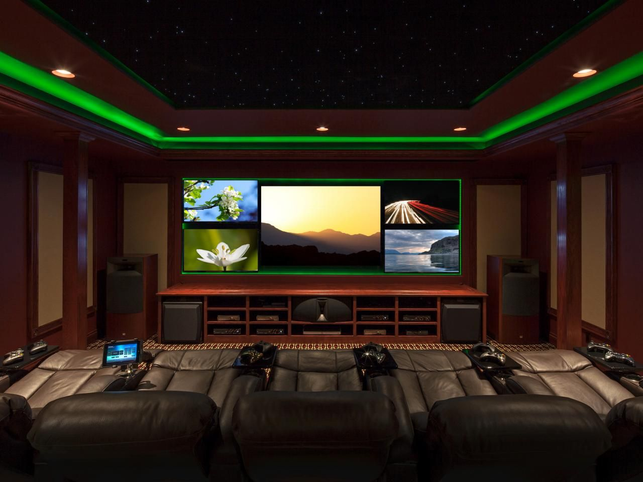 Sensational media room design with couches coffee table a for Media room interior design ideas