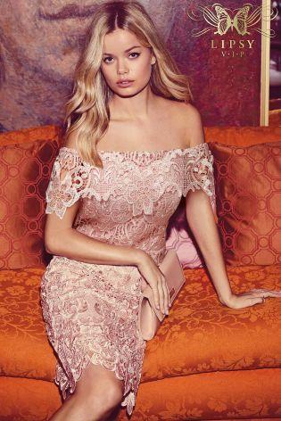 Pink Lipsy VIP All Over Lace Bardot Dress