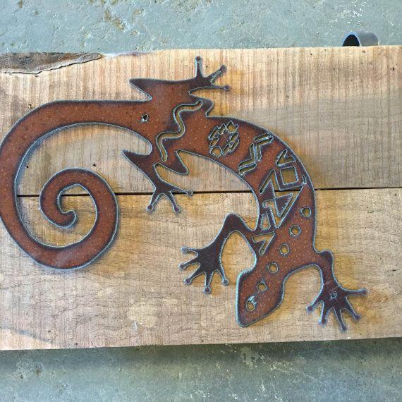 Gecko Metal Cutout Southwestern Pattern Home Decor Southwest Art Rustic Wall