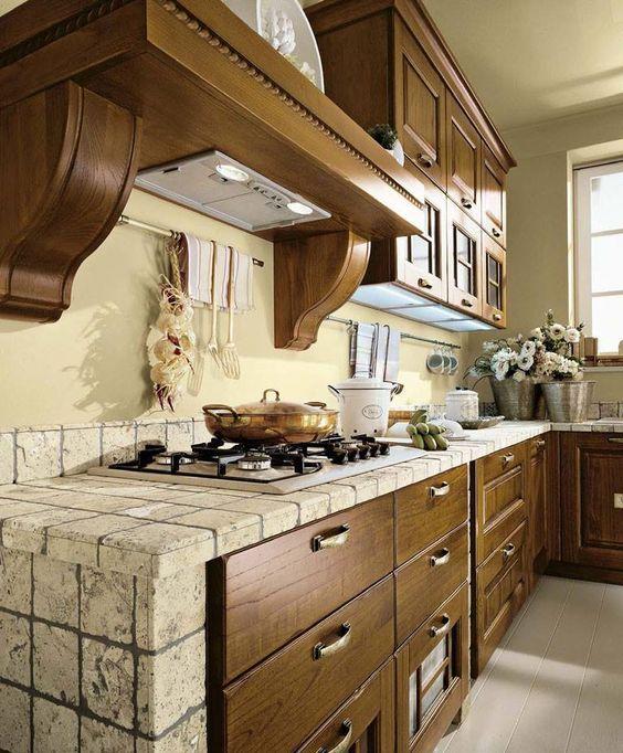 Cucina rustica in muratura classica e naturale for Casa classica porcelain tile