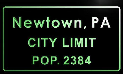 t76319-g Newtown, PA City Limit POP. 2384 Indoor Neon Sign: Amazon.co.uk: Kitchen & Home