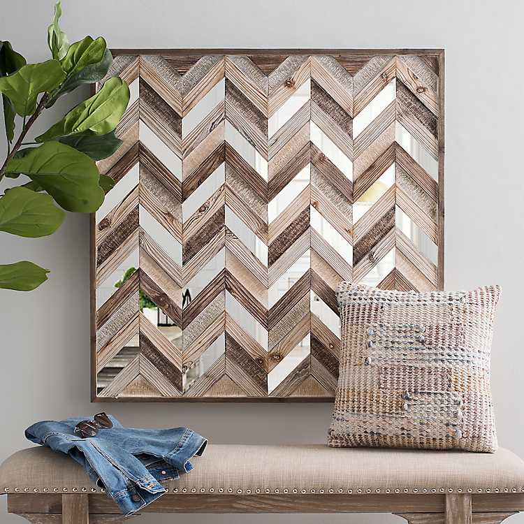 Chevron Wood Plank And Mirrors Wall Plaque Kirklands Chevron Wall Art Mirror Wall Art Wall Mirror Diy