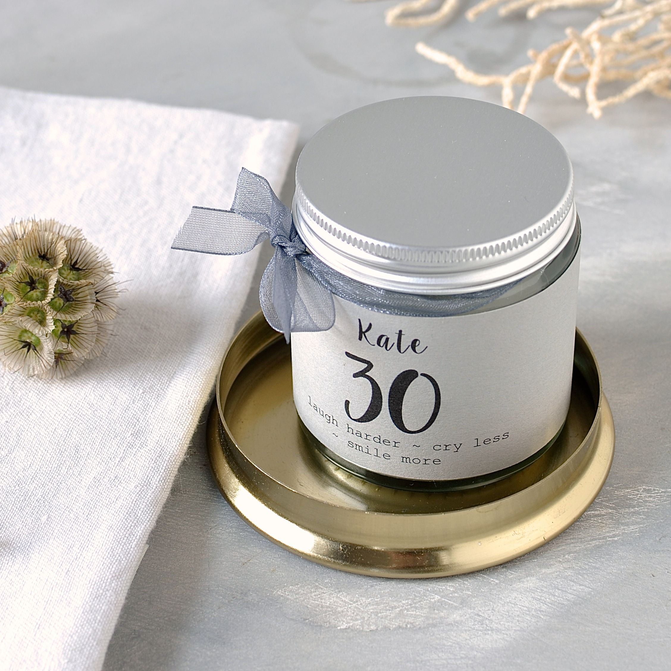 30th birthday scented candle bespoke message scented