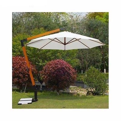 12Ft 360 Degree Wooden Hanging Offset Patio Umbrella W/ Marble Base Shade  Cream
