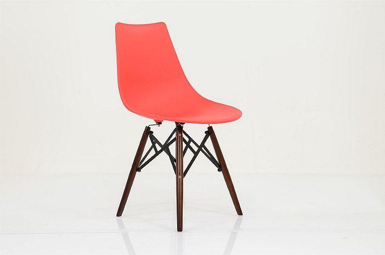 Bergen Red Plastic Dining Chair Walnut Leg